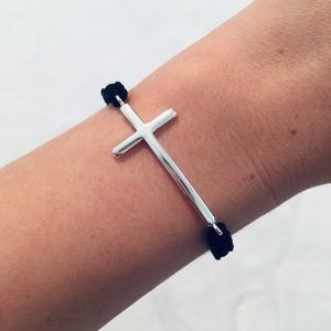 Jewelry - Silver Cross and Black Cord Adjustable Bracelet